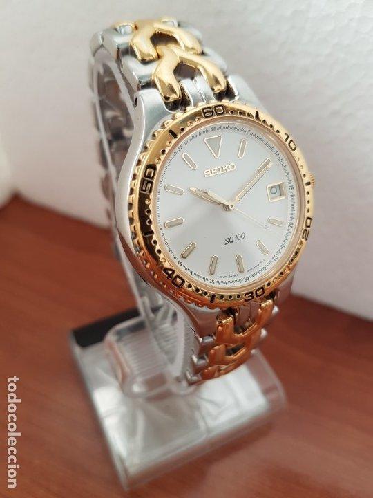 Relojes - Seiko: Reloj caballero (Vintage) SEIKO de cuarzo acero bicolor con calendario a las tres, correa original - Foto 5 - 178223250