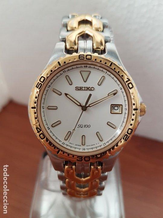 Relojes - Seiko: Reloj caballero (Vintage) SEIKO de cuarzo acero bicolor con calendario a las tres, correa original - Foto 7 - 178223250