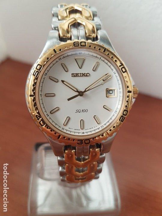 Relojes - Seiko: Reloj caballero (Vintage) SEIKO de cuarzo acero bicolor con calendario a las tres, correa original - Foto 9 - 178223250
