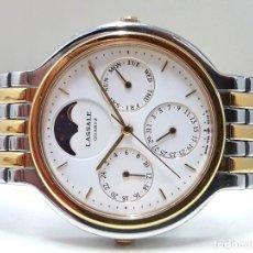 Relojes - Seiko: PRECIOSO RELOJ LASSALE AÑOS 80 DE CUARZO Y ACERO BICOLOR CALIBRE 7F69 CON FASE LUNAR Y NUEVO. Lote 181396070