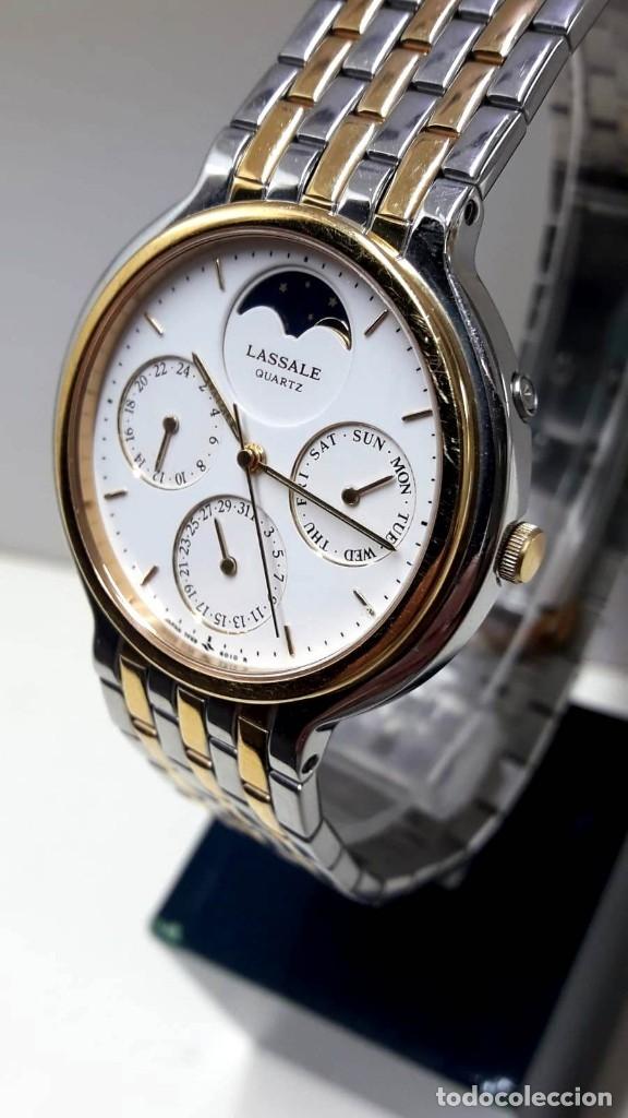 Relojes - Seiko: PRECIOSO RELOJ LASSALE AÑOS 80 DE CUARZO Y ACERO BICOLOR CALIBRE 7F69 CON FASE LUNAR Y NUEVO - Foto 2 - 181396070