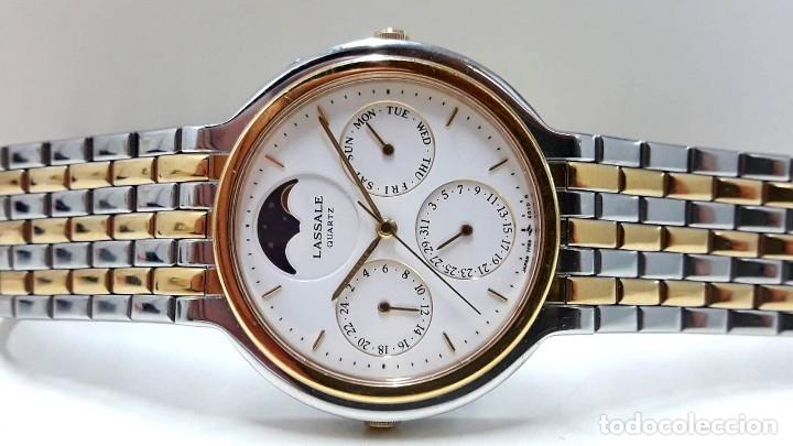 Relojes - Seiko: PRECIOSO RELOJ LASSALE AÑOS 80 DE CUARZO Y ACERO BICOLOR CALIBRE 7F69 CON FASE LUNAR Y NUEVO - Foto 5 - 181396070