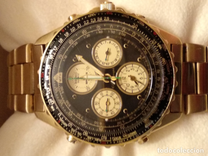 Relojes - Seiko: reloj Seiko 150 sports nuevo a estrenar caja garantía instrucciones modelo 7t34-6a00 vintage dorado - Foto 2 - 182102368