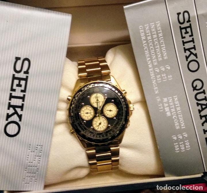 Relojes - Seiko: reloj Seiko 150 sports nuevo a estrenar caja garantía instrucciones modelo 7t34-6a00 vintage dorado - Foto 5 - 182102368
