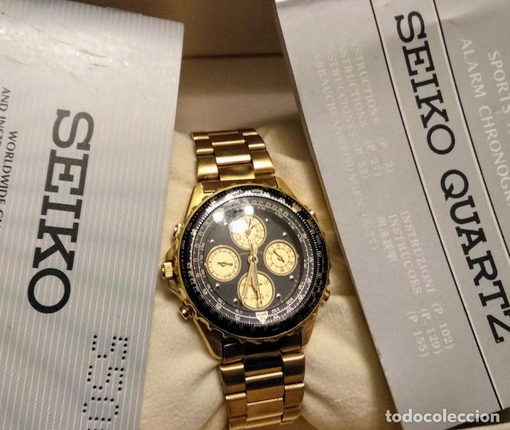 RELOJ SEIKO 150 SPORTS NUEVO A ESTRENAR CAJA GARANTÍA INSTRUCCIONES MODELO 7T34-6A00 VINTAGE DORADO (Relojes - Relojes Actuales - Seiko)