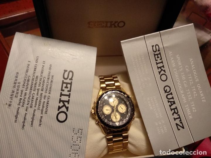 Relojes - Seiko: reloj Seiko 150 sports nuevo a estrenar caja garantía instrucciones modelo 7t34-6a00 vintage dorado - Foto 7 - 182102368