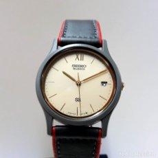 Relojes - Seiko: ELEGANTE Y CURIOSO RELOJ SEIKO DE CUARZO AÑOS 80 CORREA GRIS Y ROJA CON DOBLE CIERRE INTERIOR NUEVO. Lote 182483218
