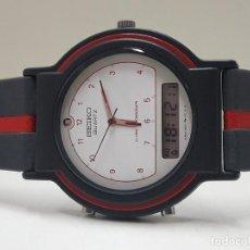 Relojes - Seiko: RELOJ SEIKO ANALÓGICO Y DIGITAL AÑOS 80 CORREA GRIS Y ROJA Y NUEVO. Lote 183414545