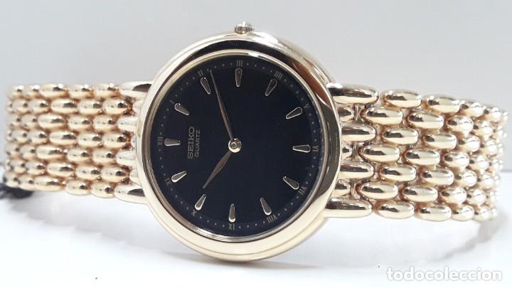 Relojes - Seiko: ELEGANTE RELOJ SEIKO CHAPADO EN ORO AÑOS 90 DE CUARZO Y NUEVO - Foto 3 - 184698435