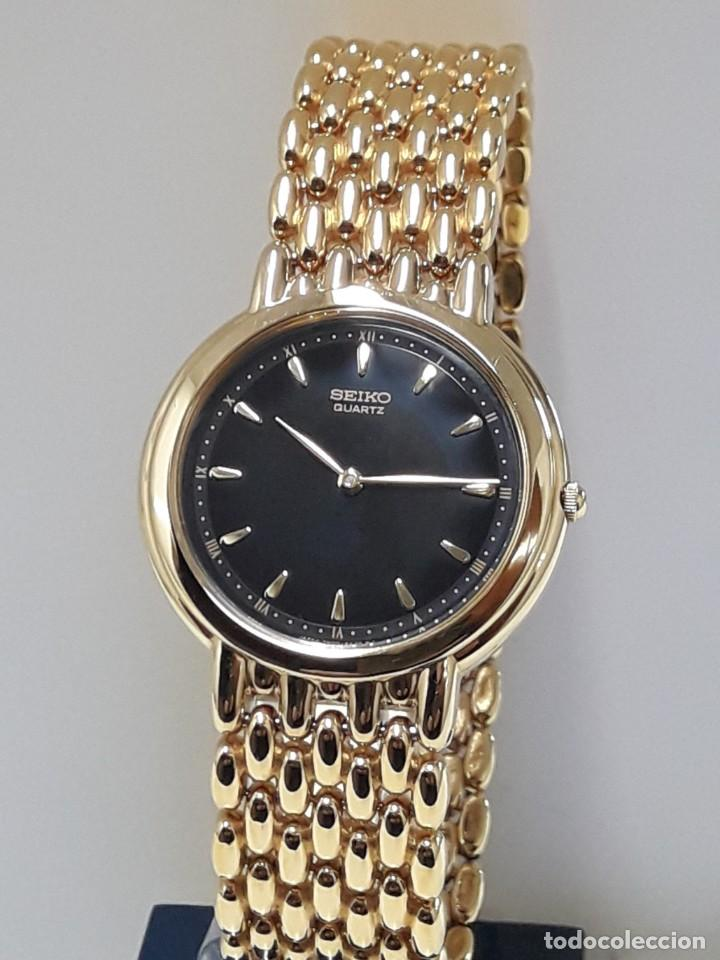 Relojes - Seiko: ELEGANTE RELOJ SEIKO CHAPADO EN ORO AÑOS 90 DE CUARZO Y NUEVO - Foto 6 - 184698435