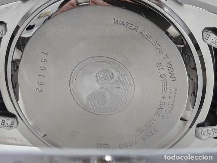 Relojes - Seiko: RELOJ CRONO-ALARMA SEIKO EN ACERO BICOLOR AÑOS 90 DE CUARZO Y NUEVO - Foto 5 - 184713565