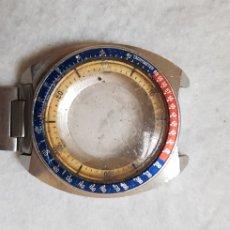Relojes - Seiko: CAJA SEIKO POGUE AMARILLO CON BISEL Y UN TROZO DE ARMYS. Lote 186393901