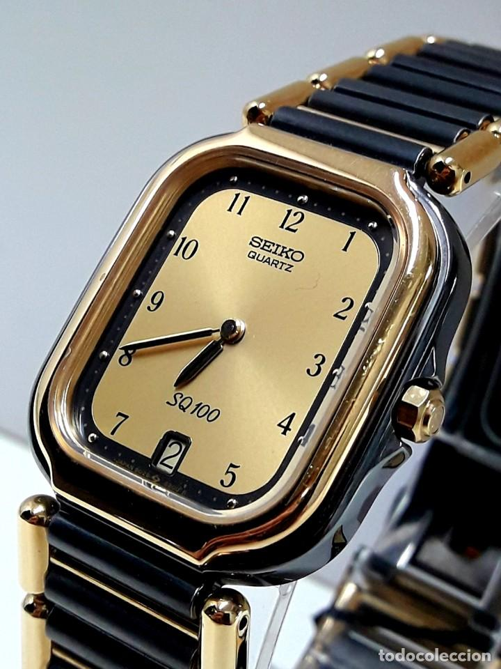 ELEGANTE RELOJ SEIKO SQ100 AÑOS 80 CHAPADO EN ORO BICOLOR DE CUARZO Y NUEVO (Relojes - Relojes Actuales - Seiko)