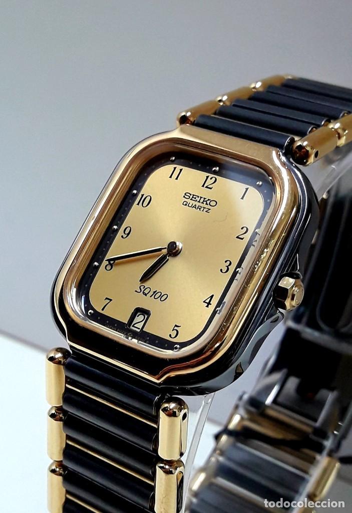 Relojes - Seiko: ELEGANTE RELOJ SEIKO SQ100 AÑOS 80 CHAPADO EN ORO BICOLOR DE CUARZO Y NUEVO - Foto 3 - 189766585