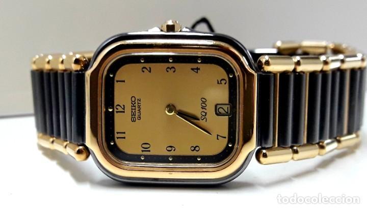 Relojes - Seiko: ELEGANTE RELOJ SEIKO SQ100 AÑOS 80 CHAPADO EN ORO BICOLOR DE CUARZO Y NUEVO - Foto 8 - 189766585