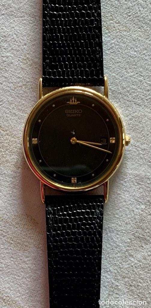 Relojes - Seiko: RELOJ DE PULSERA SEIKO QUARTZ, ESFERA NEGRA, CORREA NEGRA, NUEVO, PROCEDENTE STOCK RELOJERÍA - Foto 3 - 189830253