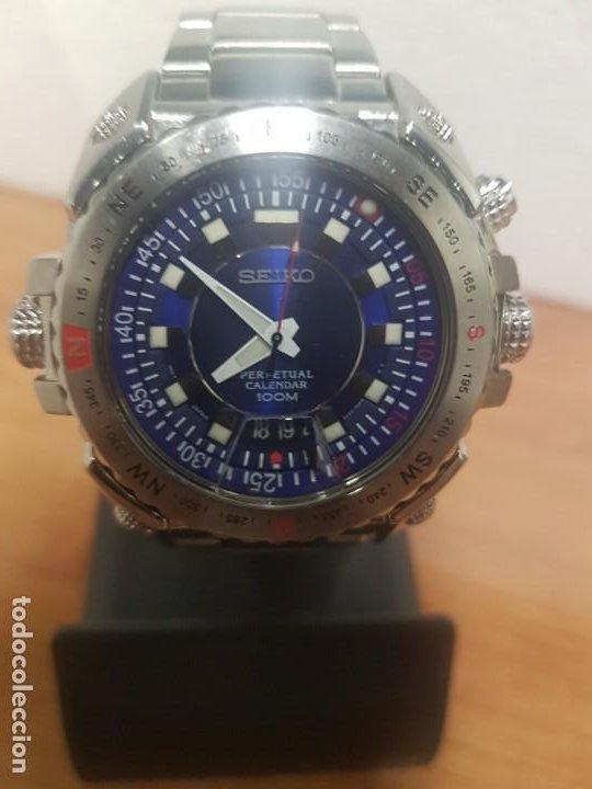Relojes - Seiko: Reloj caballero de cuarzo acero marca SEIKO con calendario perpetuo, esfera azul, correa acero origi - Foto 2 - 191525602