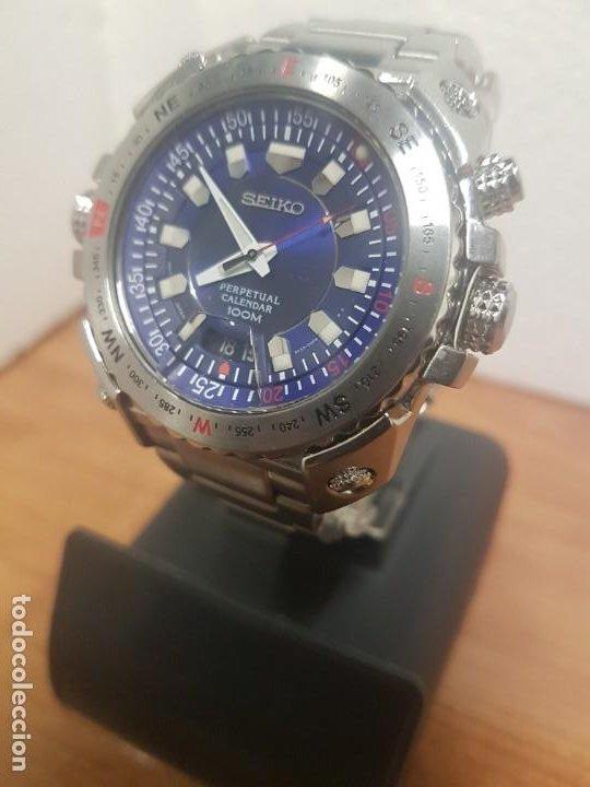 Relojes - Seiko: Reloj caballero de cuarzo acero marca SEIKO con calendario perpetuo, esfera azul, correa acero origi - Foto 3 - 191525602
