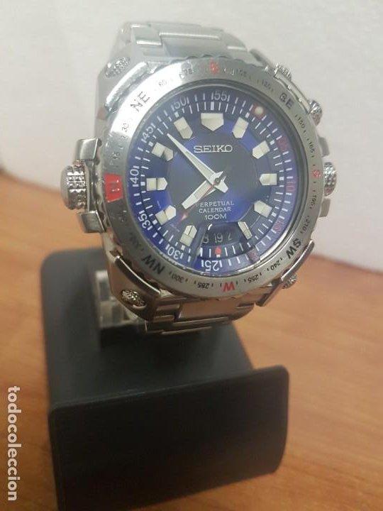 Relojes - Seiko: Reloj caballero de cuarzo acero marca SEIKO con calendario perpetuo, esfera azul, correa acero origi - Foto 4 - 191525602
