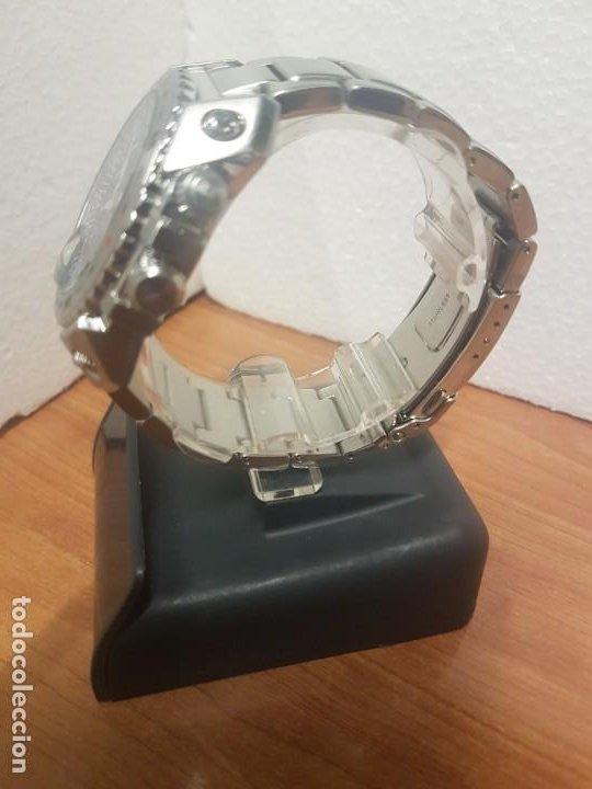 Relojes - Seiko: Reloj caballero de cuarzo acero marca SEIKO con calendario perpetuo, esfera azul, correa acero origi - Foto 5 - 191525602