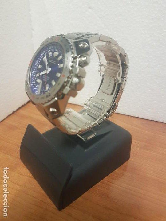 Relojes - Seiko: Reloj caballero de cuarzo acero marca SEIKO con calendario perpetuo, esfera azul, correa acero origi - Foto 7 - 191525602