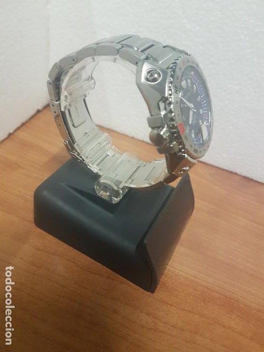 Relojes - Seiko: Reloj caballero de cuarzo acero marca SEIKO con calendario perpetuo, esfera azul, correa acero origi - Foto 8 - 191525602