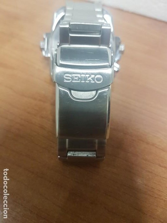 Relojes - Seiko: Reloj caballero de cuarzo acero marca SEIKO con calendario perpetuo, esfera azul, correa acero origi - Foto 11 - 191525602