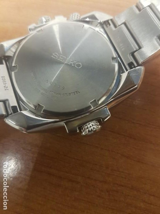 Relojes - Seiko: Reloj caballero de cuarzo acero marca SEIKO con calendario perpetuo, esfera azul, correa acero origi - Foto 12 - 191525602