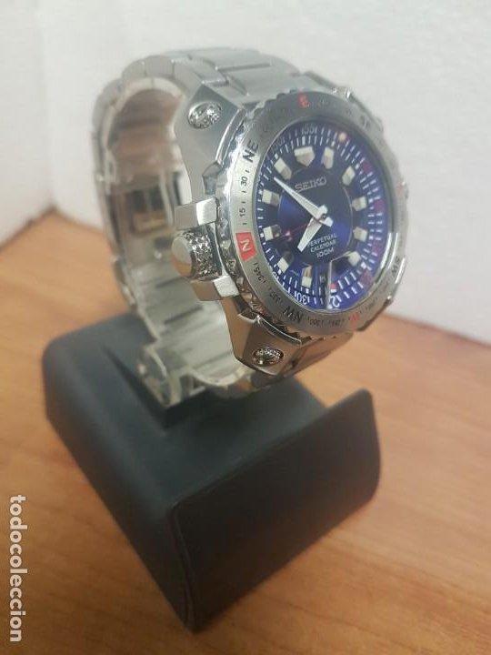 Relojes - Seiko: Reloj caballero de cuarzo acero marca SEIKO con calendario perpetuo, esfera azul, correa acero origi - Foto 17 - 191525602