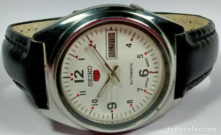 Relojes - Seiko: Vintage Seiko 5 Movimiento automático, reloj analógico con dial de fecha y día - Foto 4 - 194588711