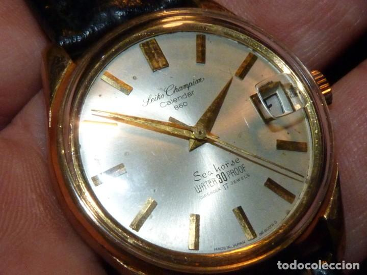 ELEGANTE SEIKO SEA HORSE DE 1964 CHAMPION CALENDAR 860 DIASHOCK 17 RUBIS SEIKOSHA 7622 CUERDA MANUAL (Relojes - Relojes Actuales - Seiko)