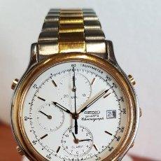 Relógios - Seiko: RELOJ CABALLERO SEIKO CRONOGRAFO DE CUARZO EN ACERO Y ORO, CORREA DE ACERO BICOLOR ORIGINAL. . Lote 199114030