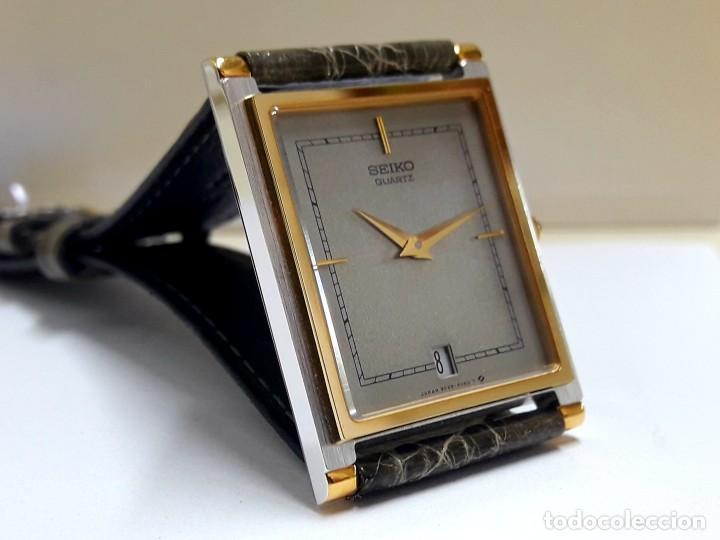 Relojes - Seiko: ELEGANTE RELOJ SEIKO RECTANGULAR BICOLOR AÑOS 80 DE CUARZO CALIBRE 9029 Y NUEVO A ESTRENAR - Foto 3 - 206213070