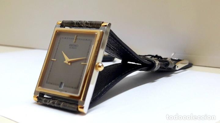 Relojes - Seiko: ELEGANTE RELOJ SEIKO RECTANGULAR BICOLOR AÑOS 80 DE CUARZO CALIBRE 9029 Y NUEVO A ESTRENAR - Foto 5 - 206213070