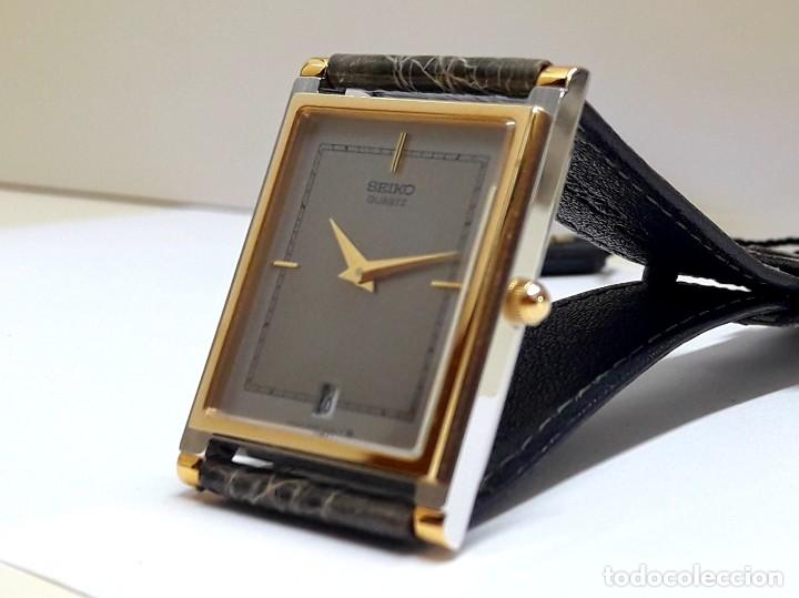Relojes - Seiko: ELEGANTE RELOJ SEIKO RECTANGULAR BICOLOR AÑOS 80 DE CUARZO CALIBRE 9029 Y NUEVO A ESTRENAR - Foto 9 - 206213070