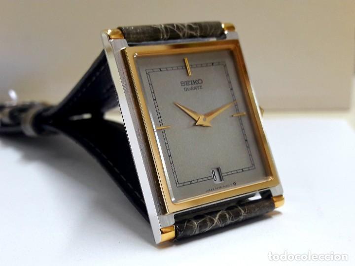 Relojes - Seiko: ELEGANTE RELOJ SEIKO RECTANGULAR BICOLOR AÑOS 80 DE CUARZO CALIBRE 9029 Y NUEVO A ESTRENAR - Foto 12 - 206213070