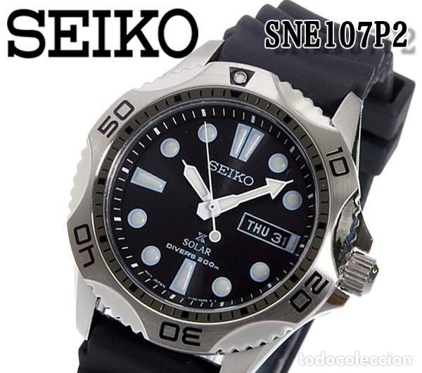 Relojes - Seiko: Seiko Solar Scuba Diver Sports SNE107P2 200 metros sumergible. Ecológico. NUEVO A ESTRENAR - Foto 6 - 196002070