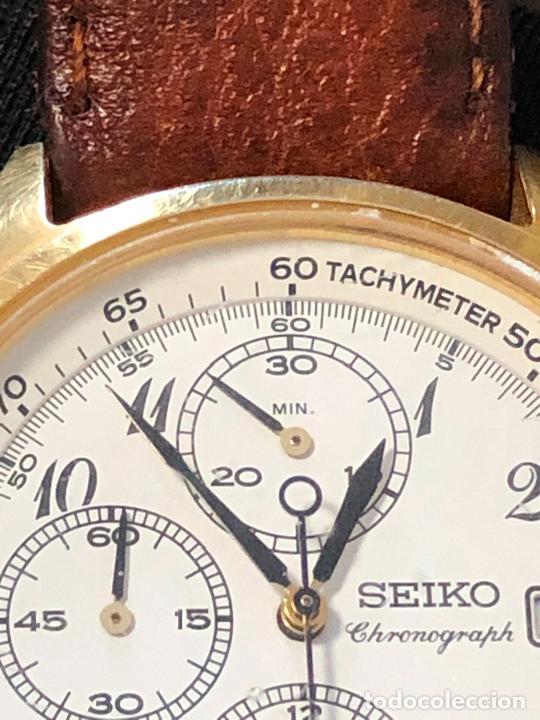 Relojes - Seiko: RELOJ CRONOGRAFO SEIKO ESFERA DORADA ALTA CALIDAD. VER FOTOS - Foto 6 - 224717868
