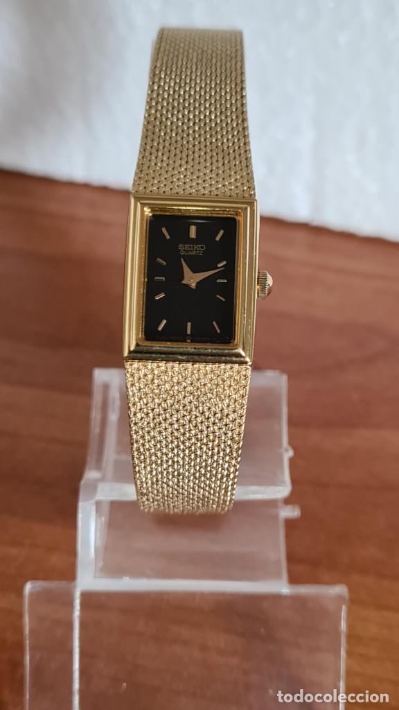 Relojes - Seiko: Reloj señora Seiko de cuarzo chapado de oro, esfera negra agujas chapada oro correa original chapada - Foto 2 - 243588605