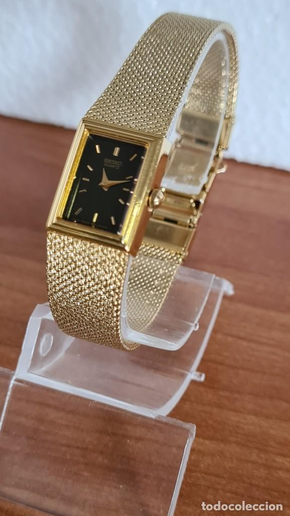 Relojes - Seiko: Reloj señora Seiko de cuarzo chapado de oro, esfera negra agujas chapada oro correa original chapada - Foto 4 - 243588605