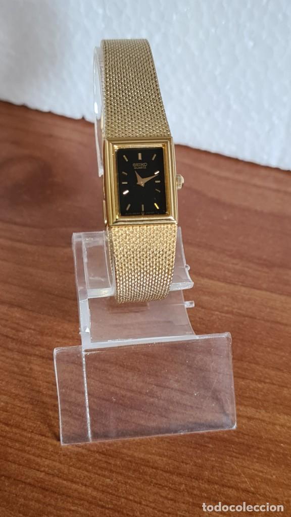 Relojes - Seiko: Reloj señora Seiko de cuarzo chapado de oro, esfera negra agujas chapada oro correa original chapada - Foto 5 - 243588605