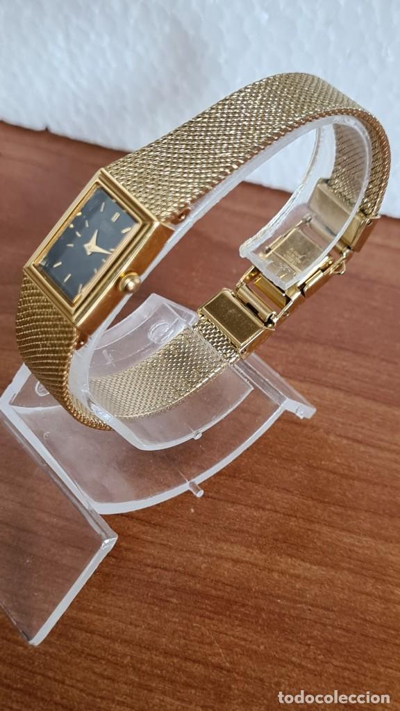 Relojes - Seiko: Reloj señora Seiko de cuarzo chapado de oro, esfera negra agujas chapada oro correa original chapada - Foto 6 - 243588605