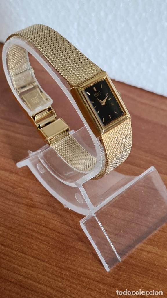 Relojes - Seiko: Reloj señora Seiko de cuarzo chapado de oro, esfera negra agujas chapada oro correa original chapada - Foto 7 - 243588605