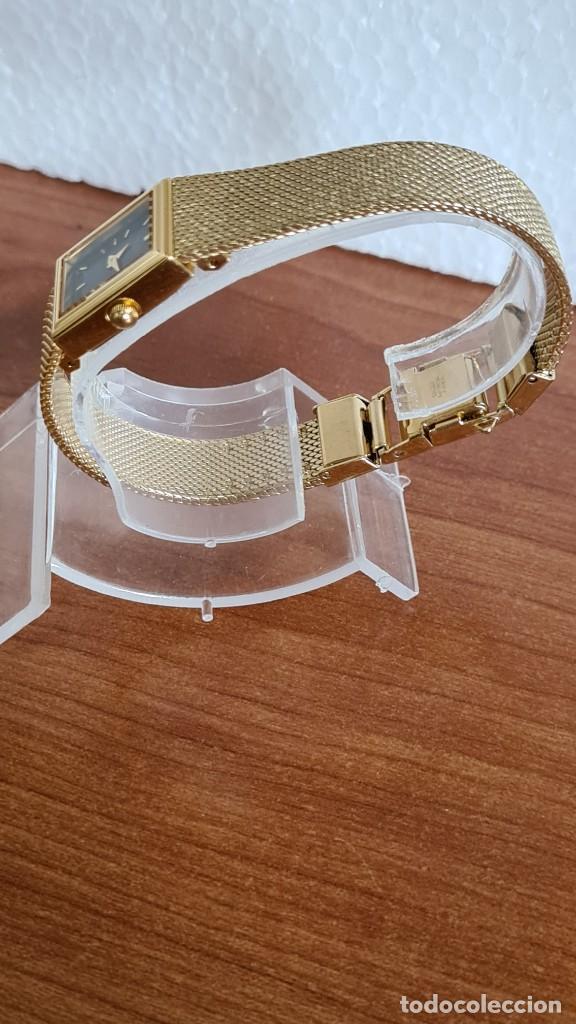 Relojes - Seiko: Reloj señora Seiko de cuarzo chapado de oro, esfera negra agujas chapada oro correa original chapada - Foto 8 - 243588605