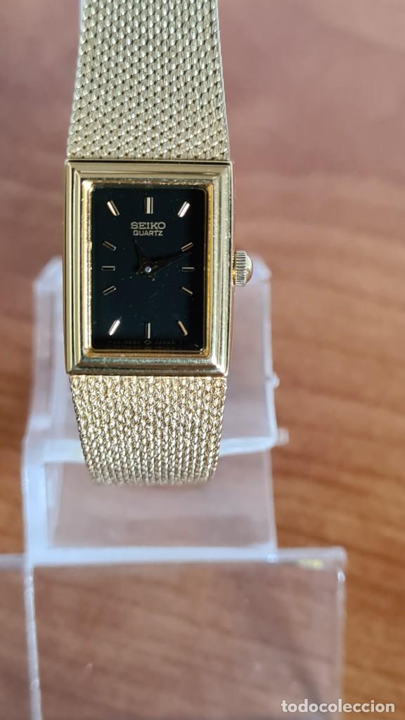 Relojes - Seiko: Reloj señora Seiko de cuarzo chapado de oro, esfera negra agujas chapada oro correa original chapada - Foto 9 - 243588605