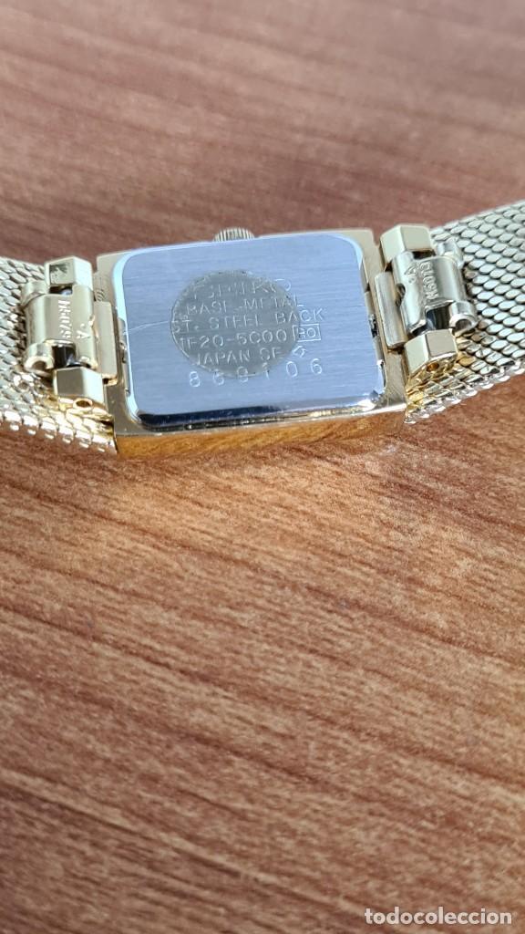 Relojes - Seiko: Reloj señora Seiko de cuarzo chapado de oro, esfera negra agujas chapada oro correa original chapada - Foto 10 - 243588605