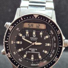 Relógios - Seiko: RELOJ CABALLERO (VINTAGE) SEIKO ANALÓGICO Y DIGITAL CON ALARMA EN ACERO, CORREA ACERO ORIGINAL SEIKO. Lote 247706810