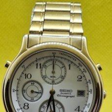 Relojes - Seiko: RELOJ CABALLERO (VINTAGE) SEIKO CUARZO, CHAPADO ORO, CRONOGRAFO, ALARMA CALENDARIO, CORREA SEIKO.. Lote 248065395