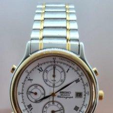 Relojes - Seiko: RELOJ CABALLERO (VINTAGE) SEIKO CUARZO, BICOLOR, CRONOGRAFO, ALARMA CALENDARIO,CORREA ORIGINAL SEIKO. Lote 253813870
