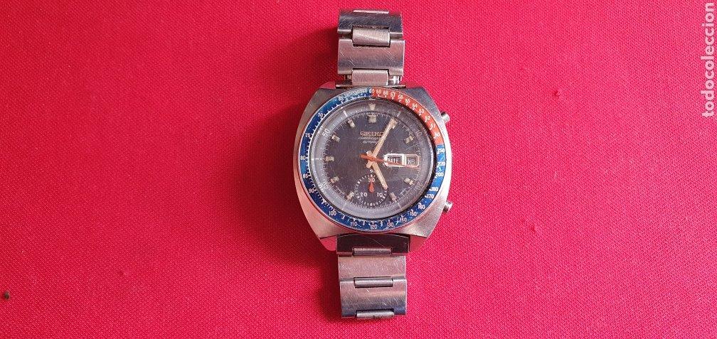 RELOJ SEIKO AUTOMATIC CHRONOGRAF BISEL PEPSI FUNCIONA PERO LE FALTA LA CORONA MIDE 42.1 MM DIAMETRO (Relojes - Relojes Actuales - Seiko)